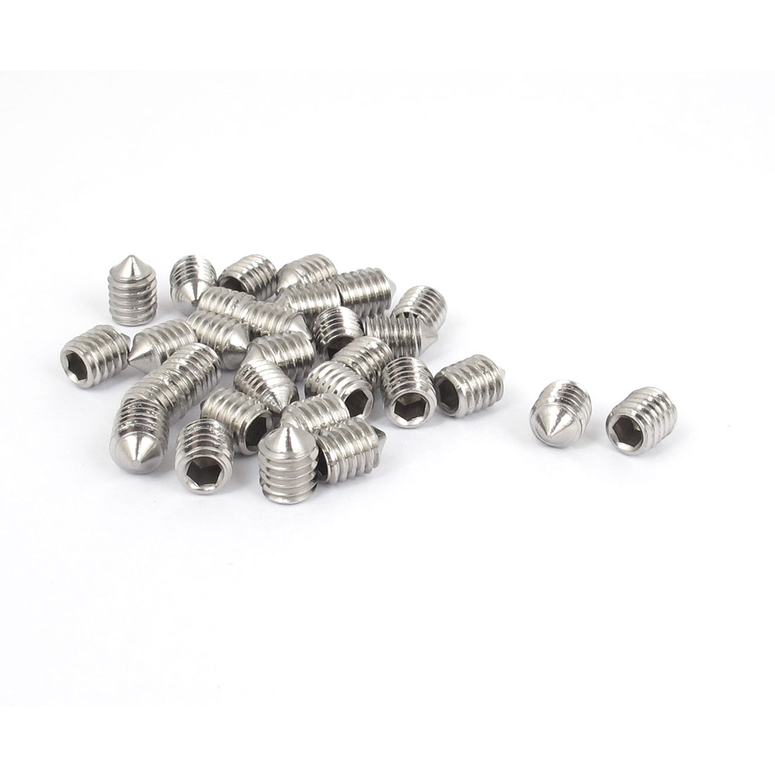 M6x8mm 304 Stainless Steel Cone Point Hexagon Socket Grub Screws 30pcs