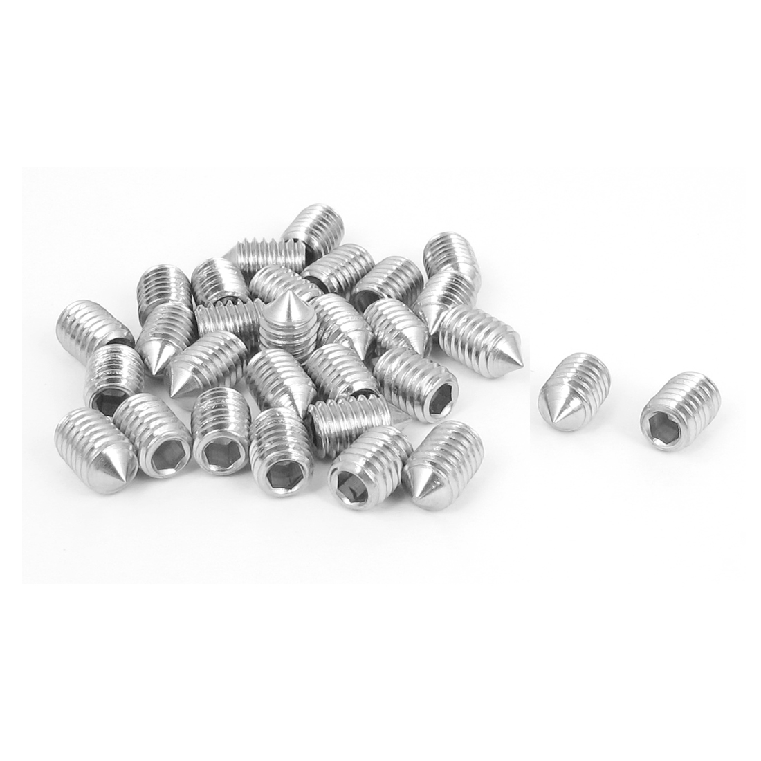 M6x10mm 304 Stainless Steel Cone Point Hexagon Socket Grub Screws 30pcs