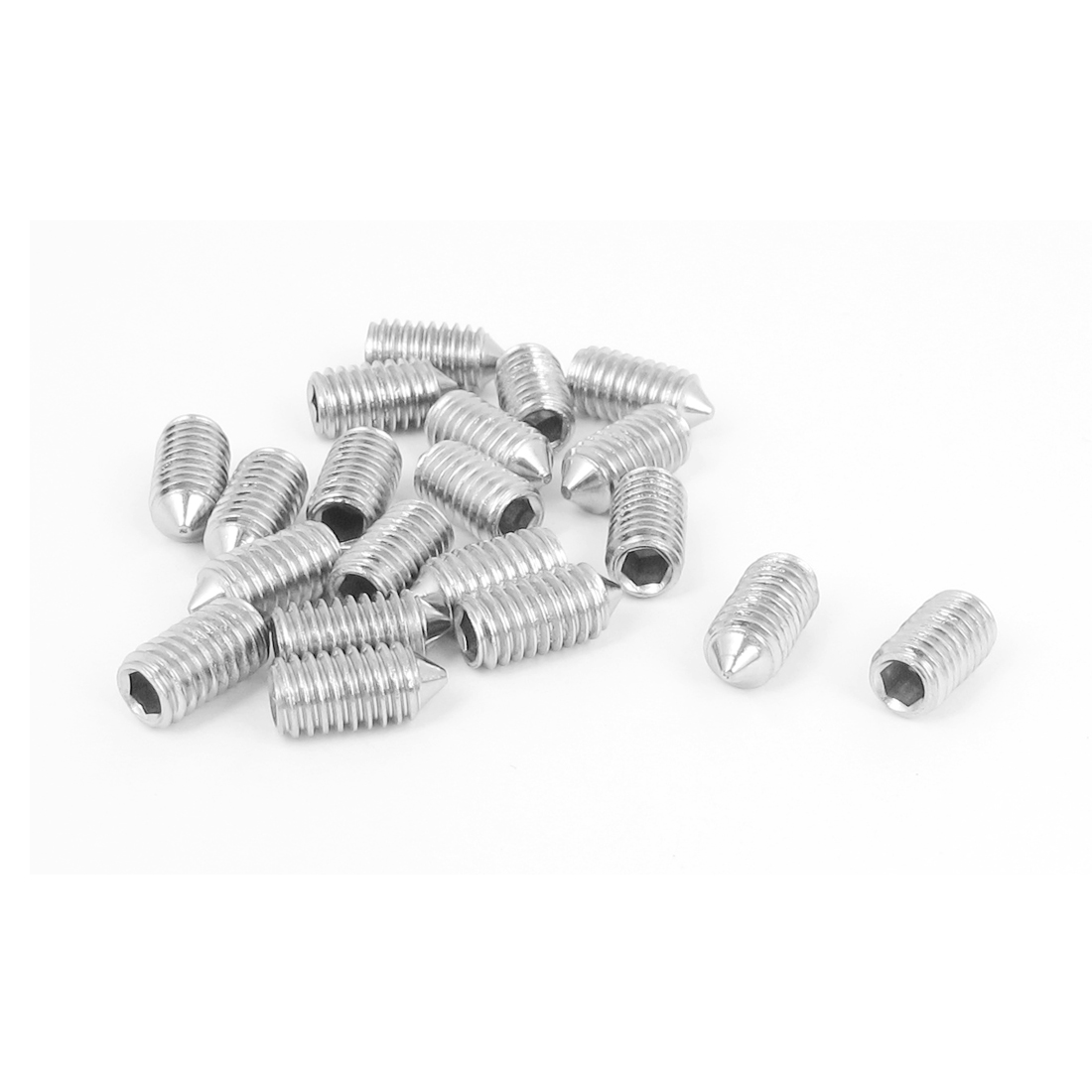 M6x12mm 304 Stainless Steel Cone Point Hexagon Socket Grub Screws 20pcs