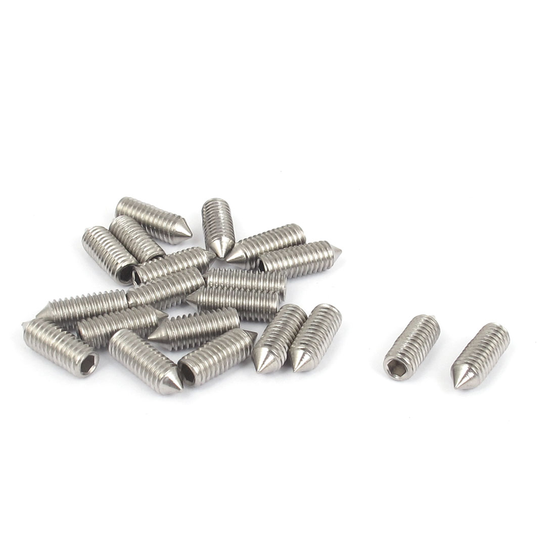 M6x16mm 304 Stainless Steel Cone Point Hexagon Socket Grub Screws 20pcs