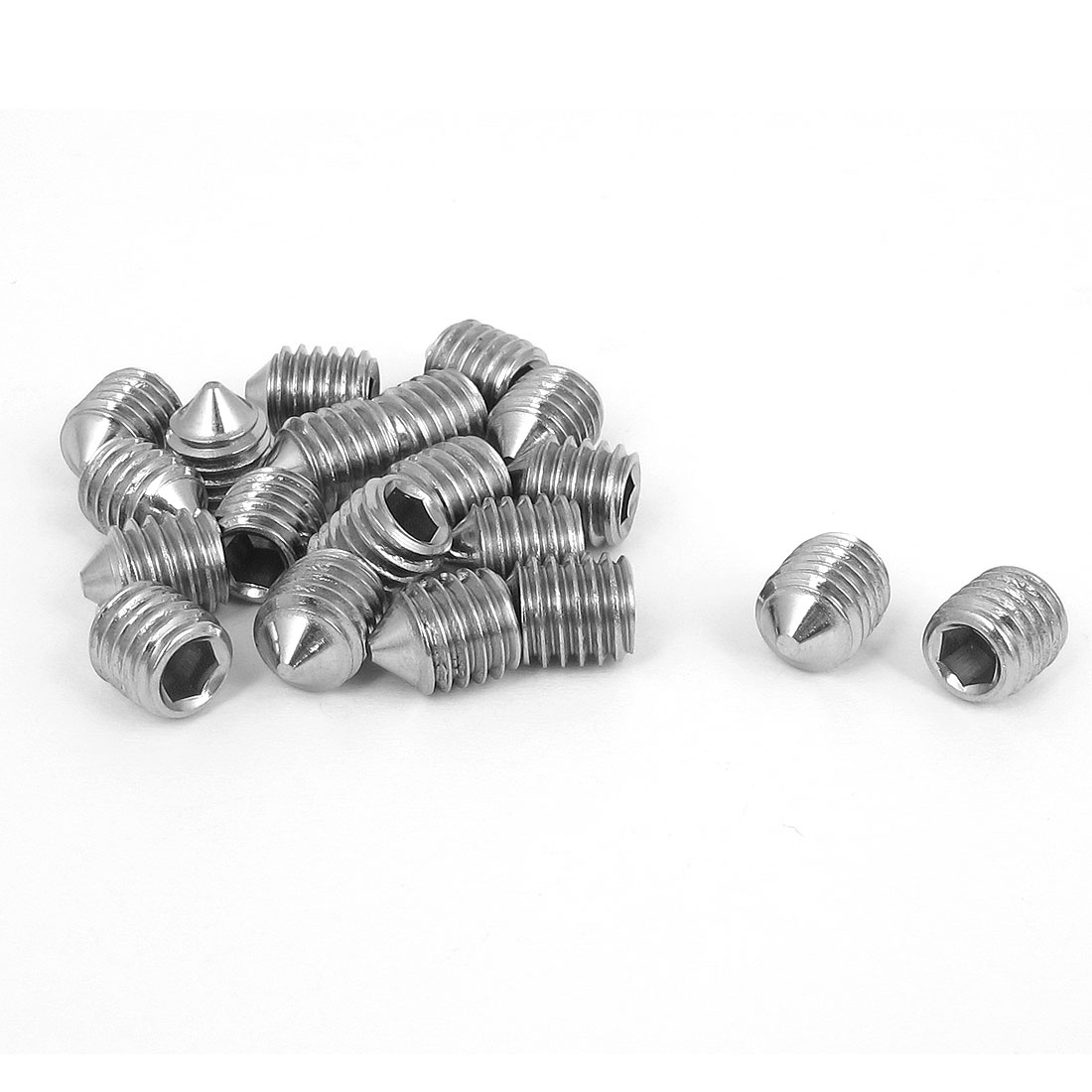 M8x10mm 304 Stainless Steel Cone Point Hexagon Socket Grub Screws 20pcs