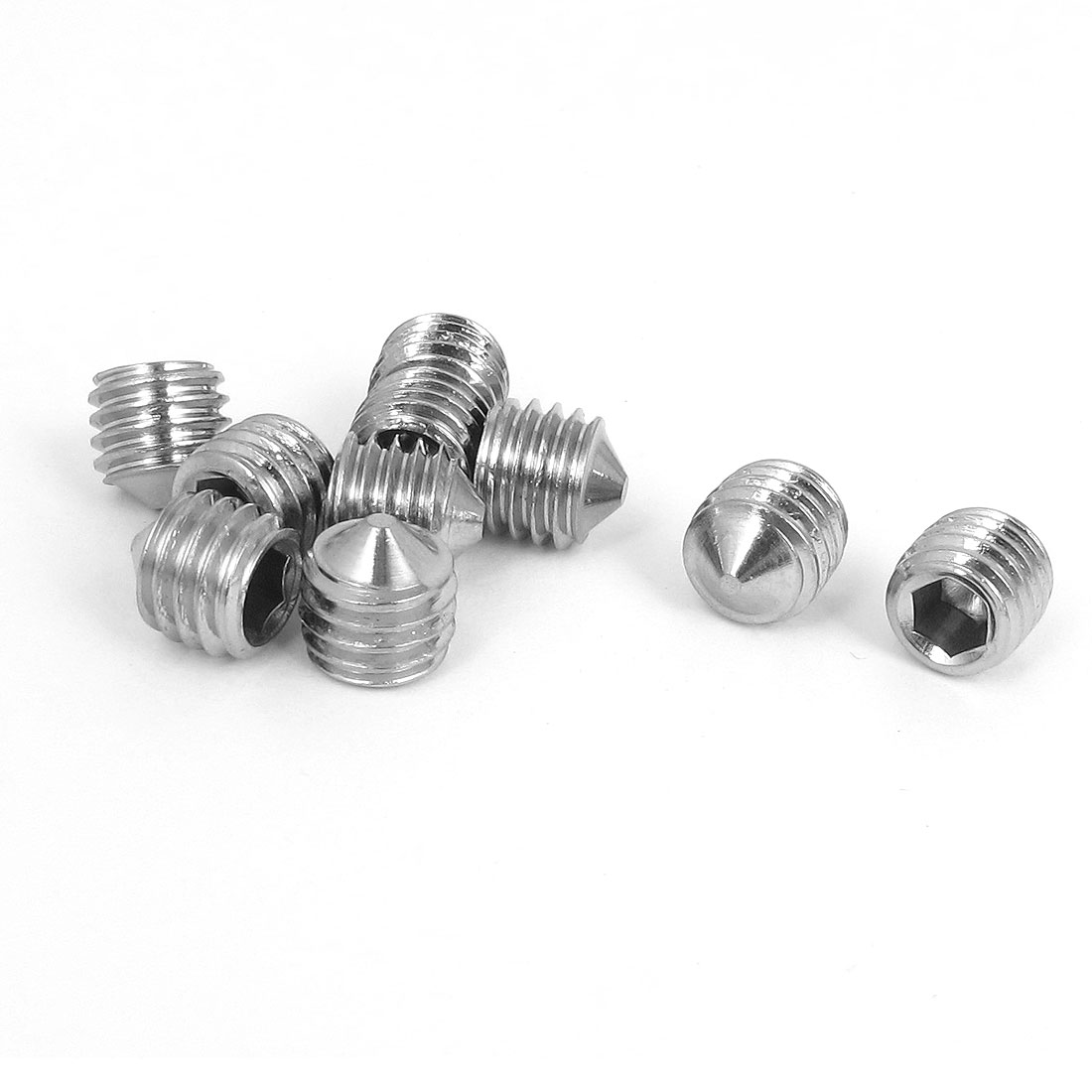M10x10mm 304 Stainless Steel Cone Point Hexagon Socket Grub Screws 10pcs