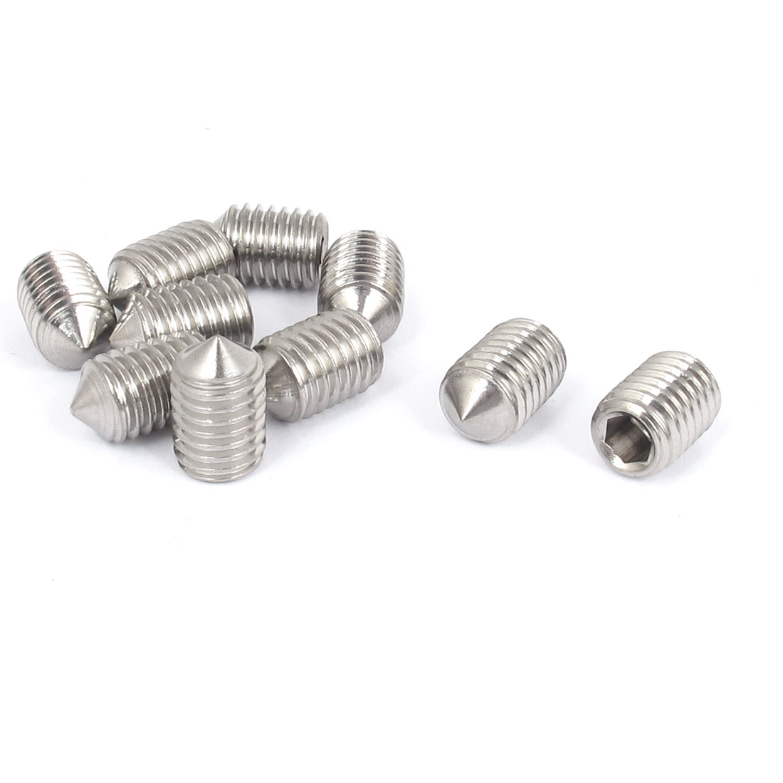 M10x16mm 304 Stainless Steel Cone Point Hexagon Socket Grub Screws 10pcs