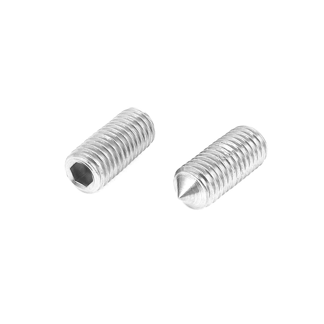 M12x30mm 304 Stainless Steel Cone Point Hexagon Socket Grub Screws 2pcs