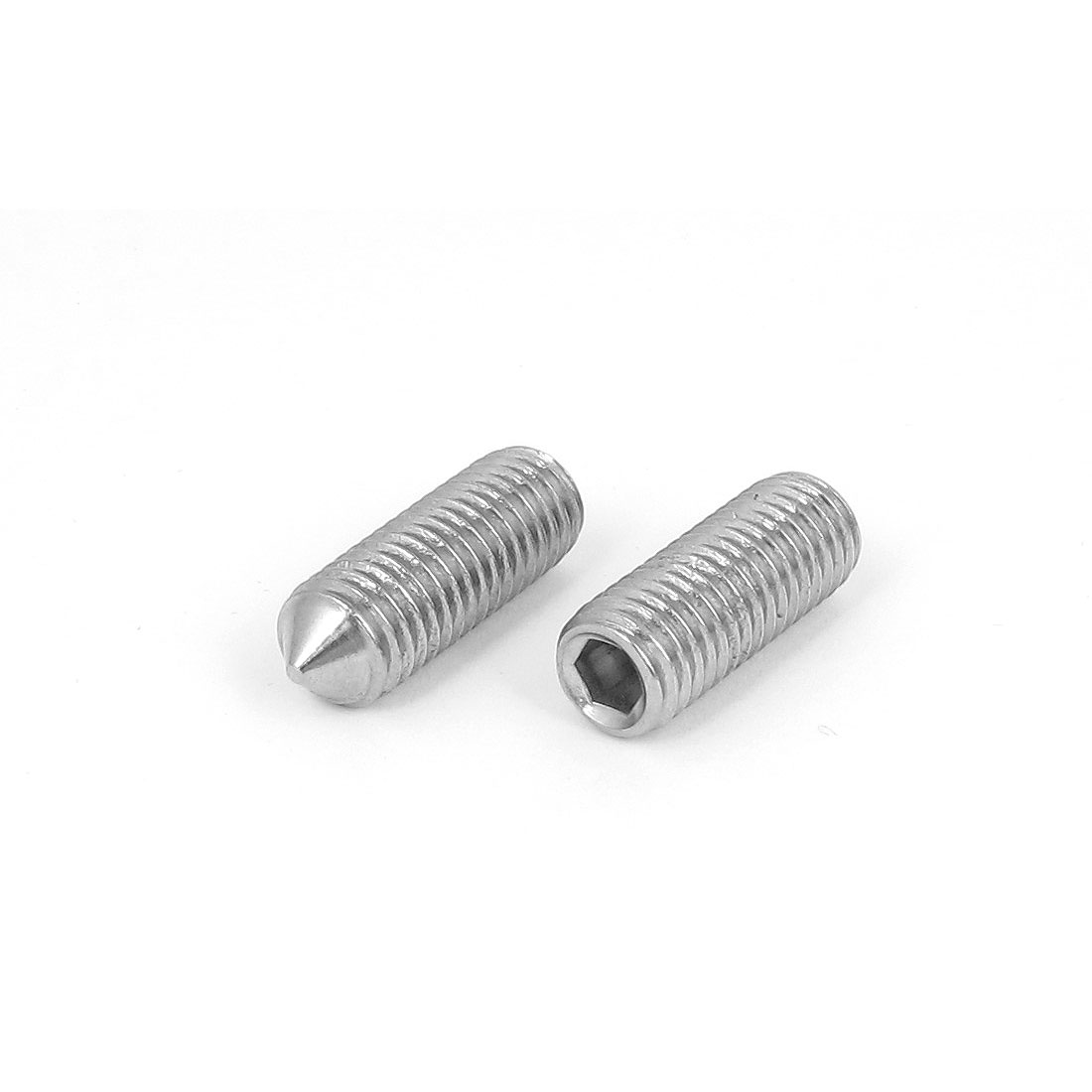 M12x35mm 1.75mm Pitch 304 Stainless Steel Cone Point Hex Socket Grub Screws 2pcs