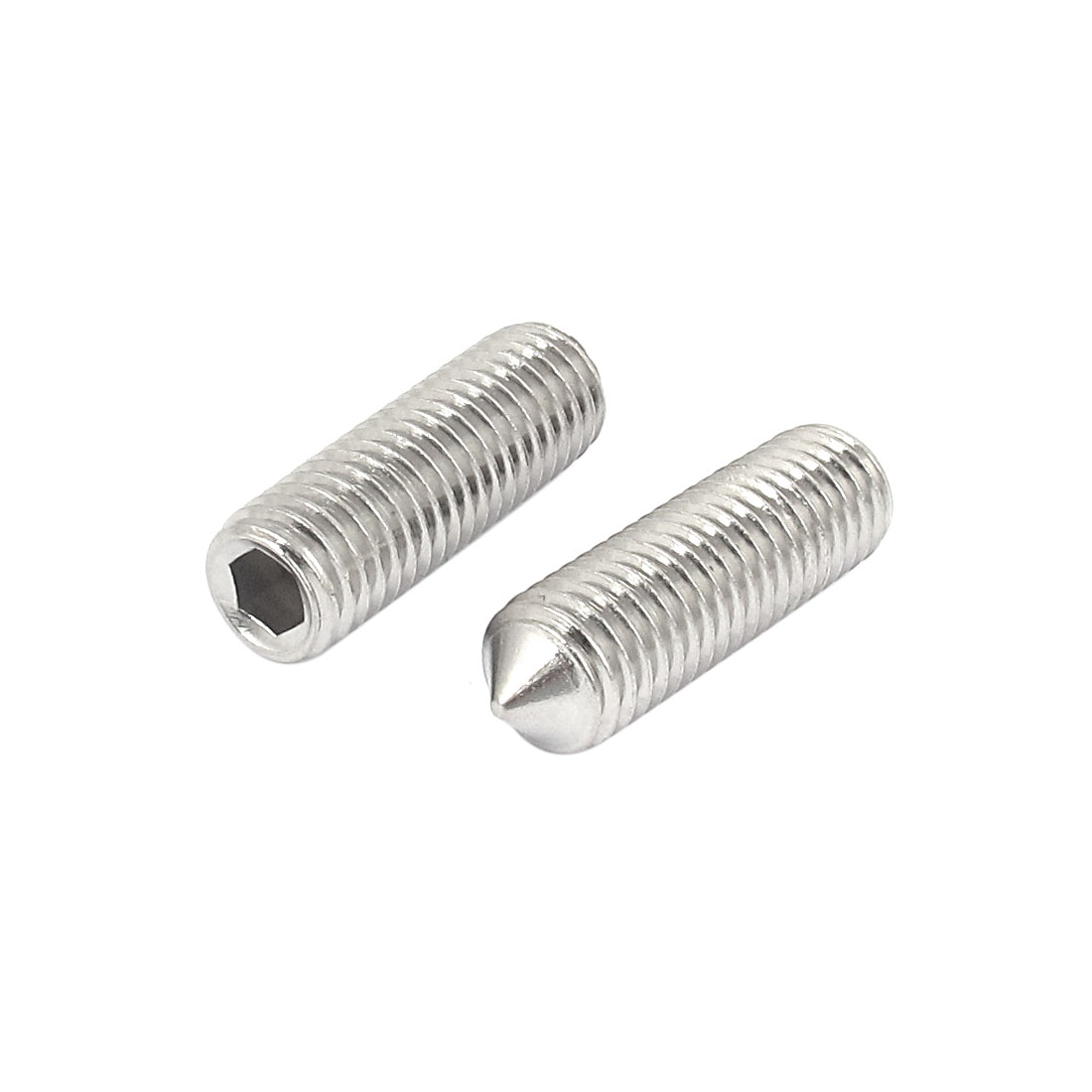 M12x40mm 1.75mm Pitch Stainless Steel Cone Point Hexagon Socket Grub Screws 2pcs