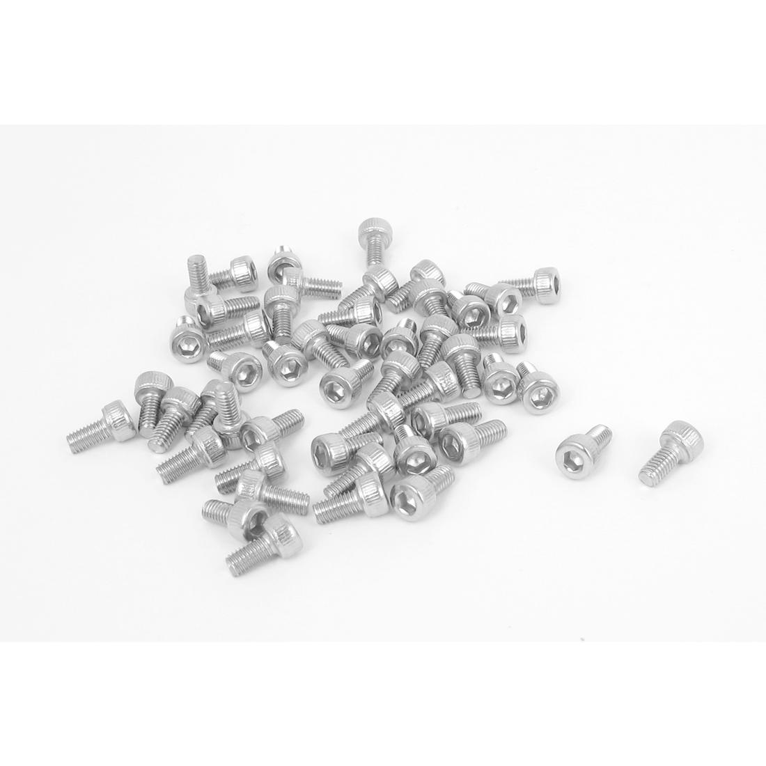 M3x6mm Thread 304 Stainless Steel Hex Key Bolt Socket Head Cap Screws 50pcs