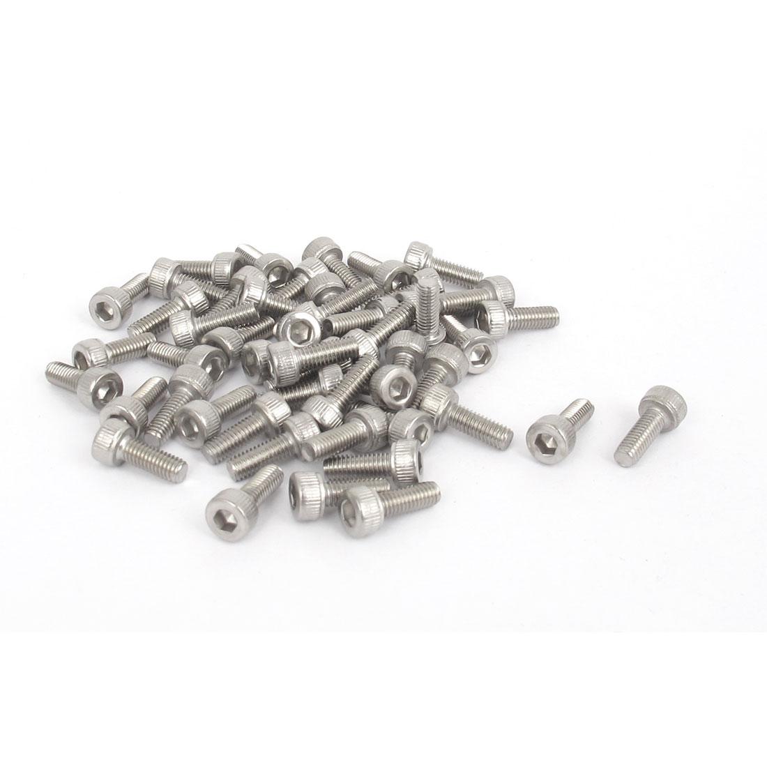M3x8mm Thread 304 Stainless Steel Hex Key Bolt Socket Head Cap Screws 50pcs