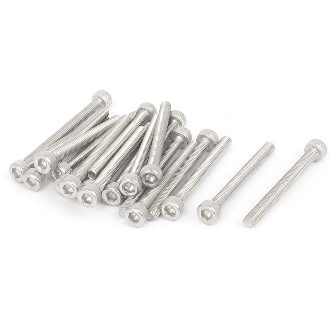M3x30mm Thread 304 Stainless Steel Hex Key Bolt Socket Head Cap Screws 20pcs