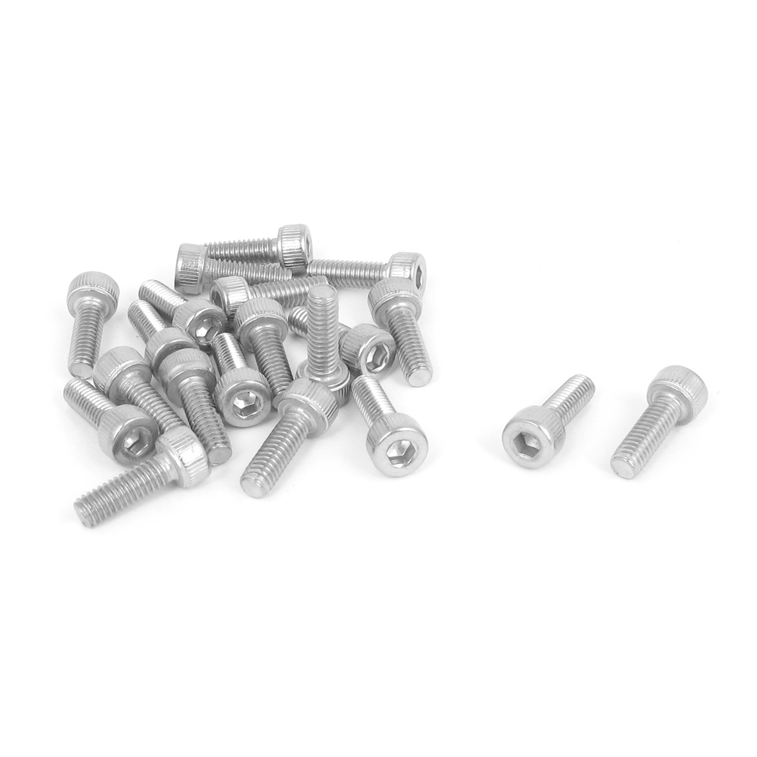 M4x12mm Thread 304 Stainless Steel Hex Key Bolt Socket Head Cap Screws 20pcs