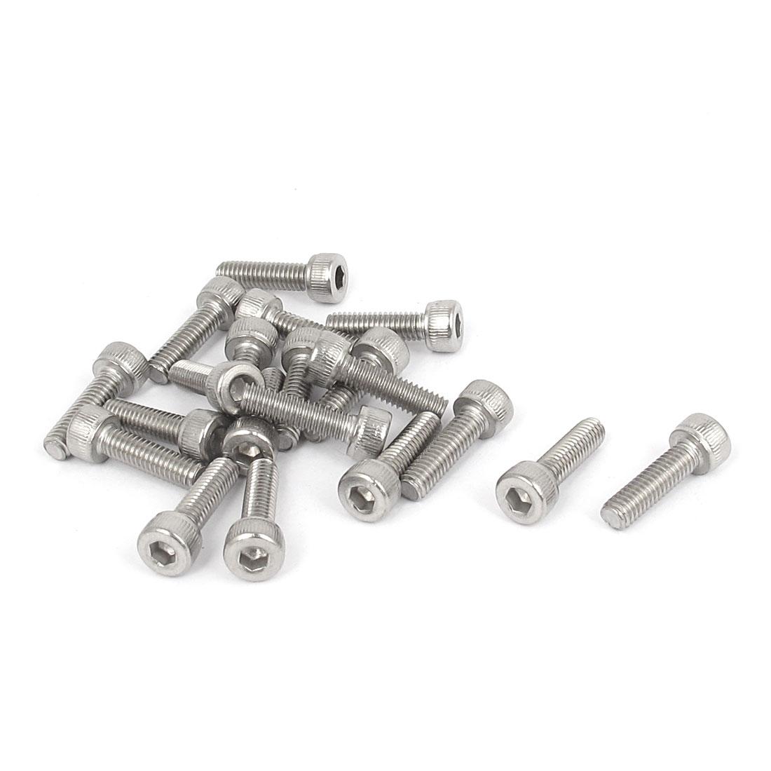 M4x14mm Thread 304 Stainless Steel Hex Key Bolt Socket Head Cap Screws 20pcs