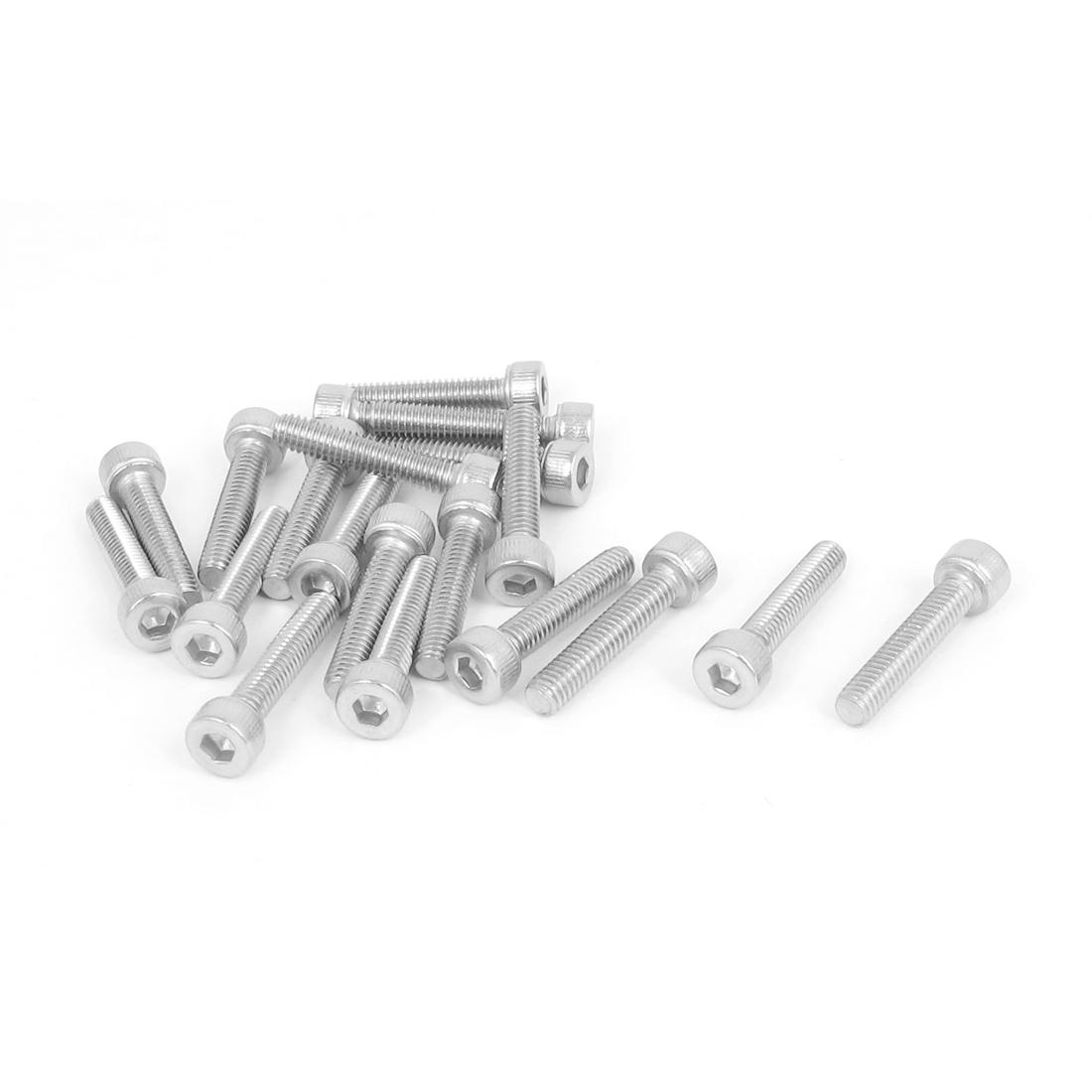 M4x20mm Thread 304 Stainless Steel Hex Key Bolt Socket Head Cap Screws 20pcs