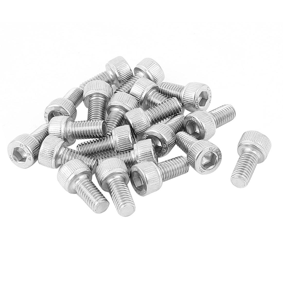 M5x10mm Thread 304 Stainless Steel Hex Key Bolt Socket Head Cap Screws 20pcs