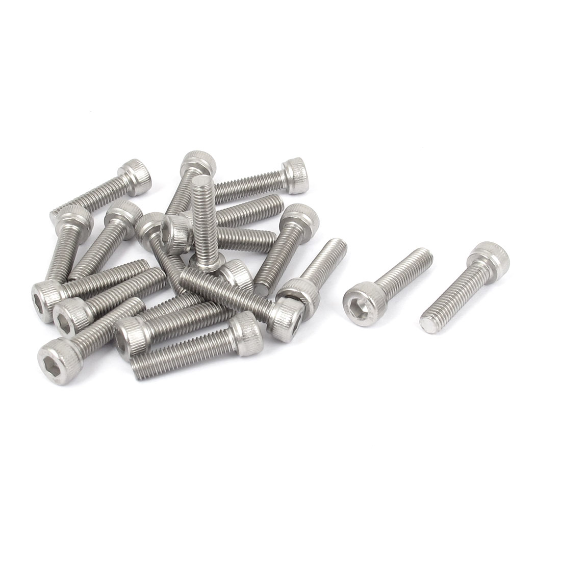 M5x20mm Thread 304 Stainless Steel Hex Key Bolt Socket Head Cap Screws 20pcs