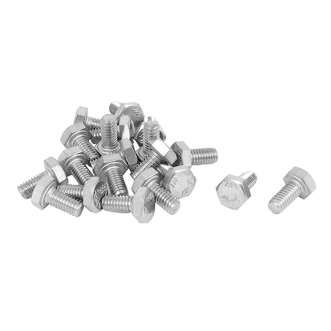 M4x8mm Thread 304 Stainless Steel Hex Hexagon Head Screw Bolt 20pcs