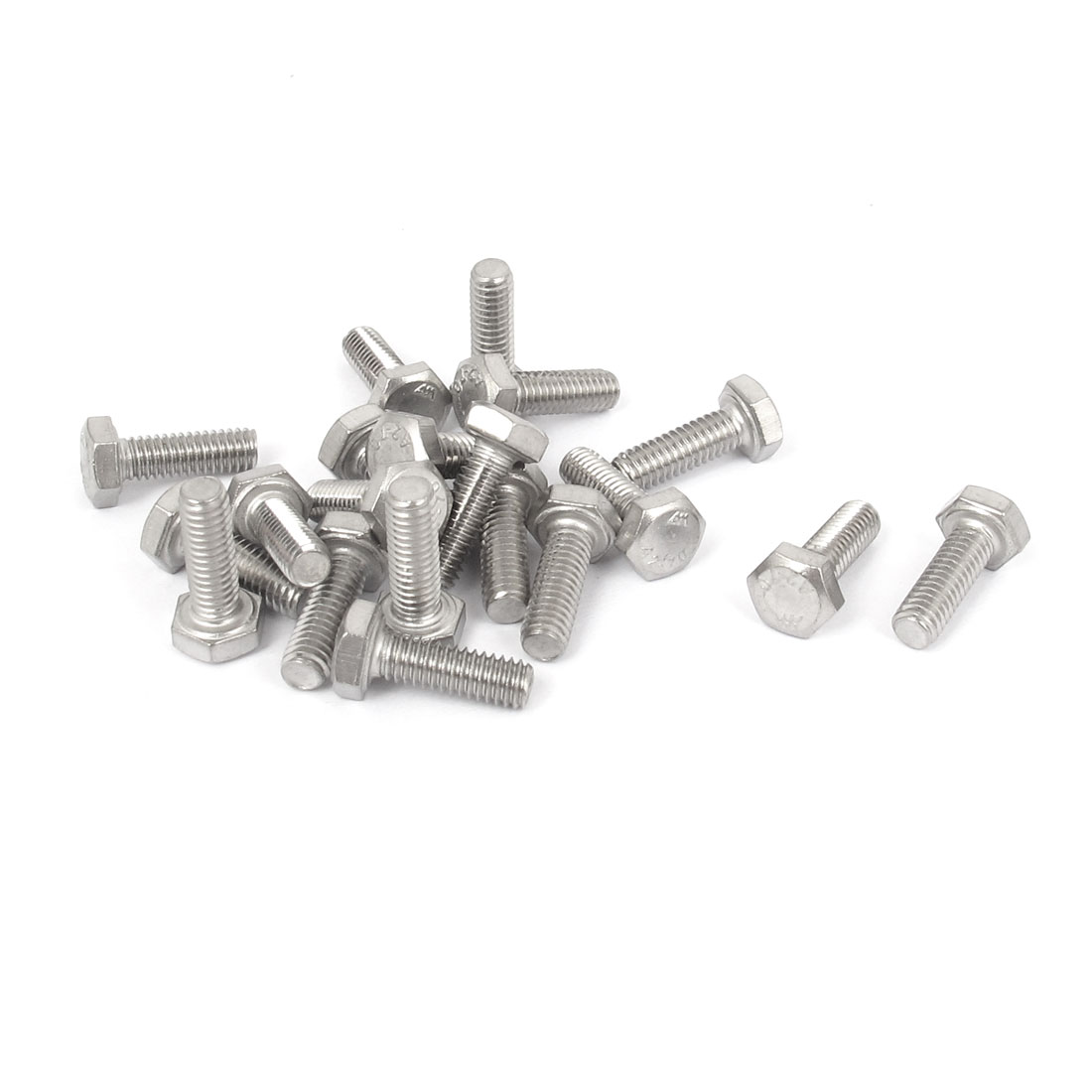 M4x12mm Thread 304 Stainless Steel Hex Hexagon Head Screw Bolt 20pcs