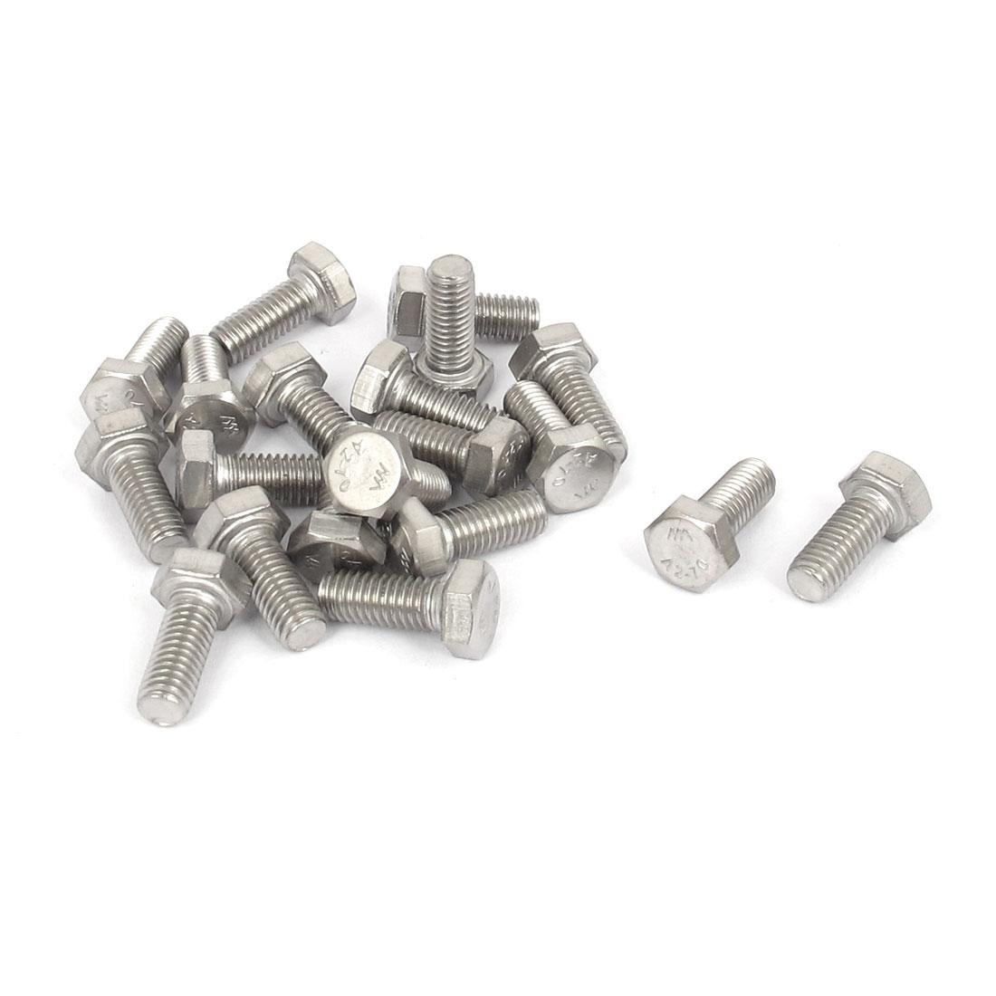 M5x12mm Thread 304 Stainless Steel Hex Hexagon Head Screw Bolt 20pcs