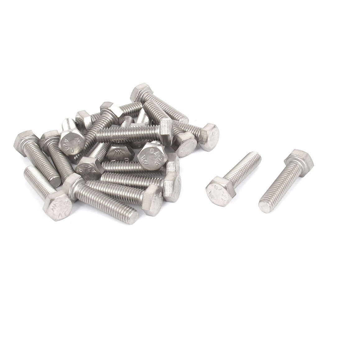 M5x20mm Thread 304 Stainless Steel Hex Hexagon Head Screw Bolt 20pcs