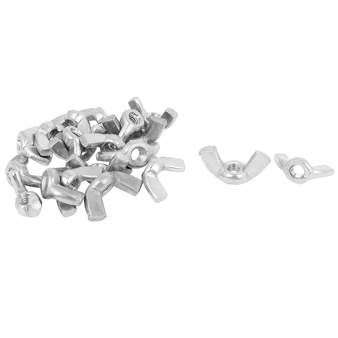 M4 Female Thread Dia 304 Stainless Steel Wingnut Butterfly Wing Nuts 20Pcs