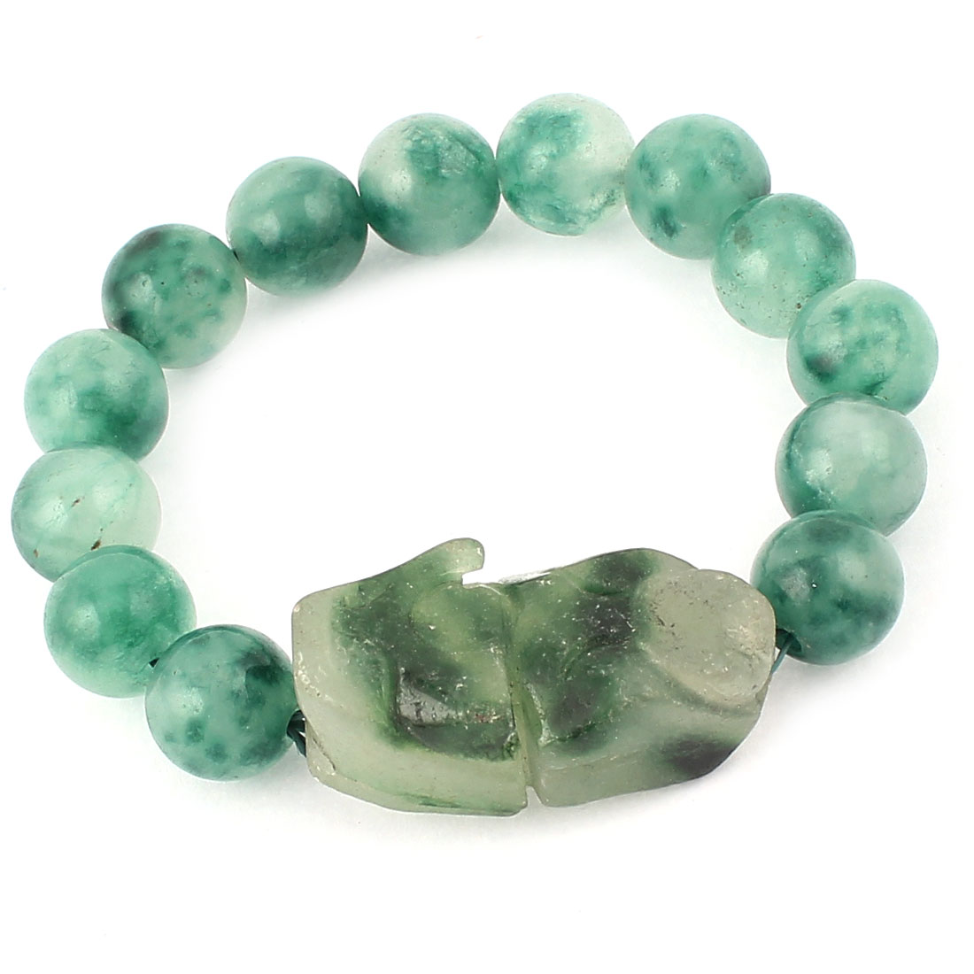 Lady Faux Jade Beads Elastic Wrist Stretchy Bangle Bracelet Dark Green
