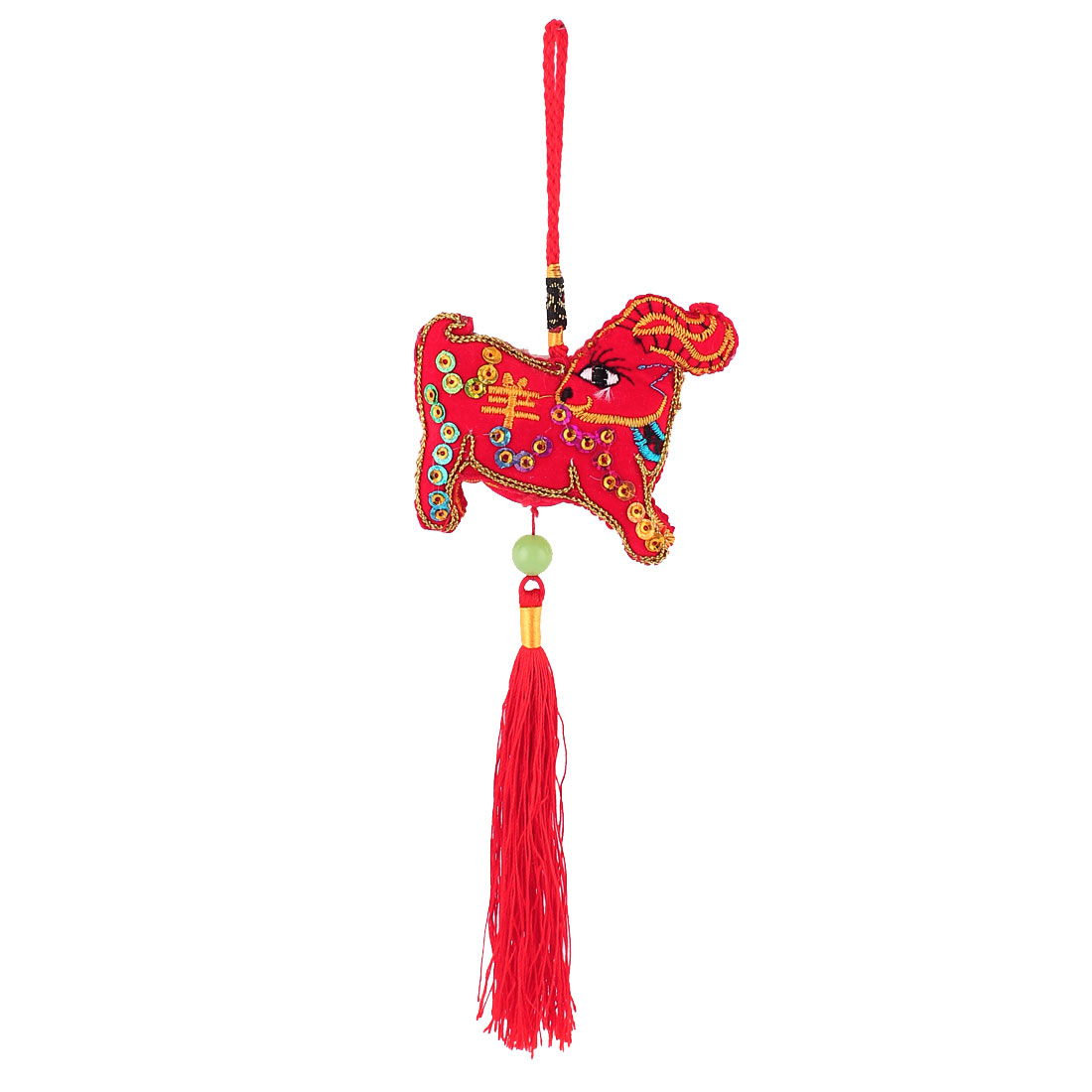 Chinese Characters Red Tassel Detail Sheep Shaped Sachet Hanging Ornament