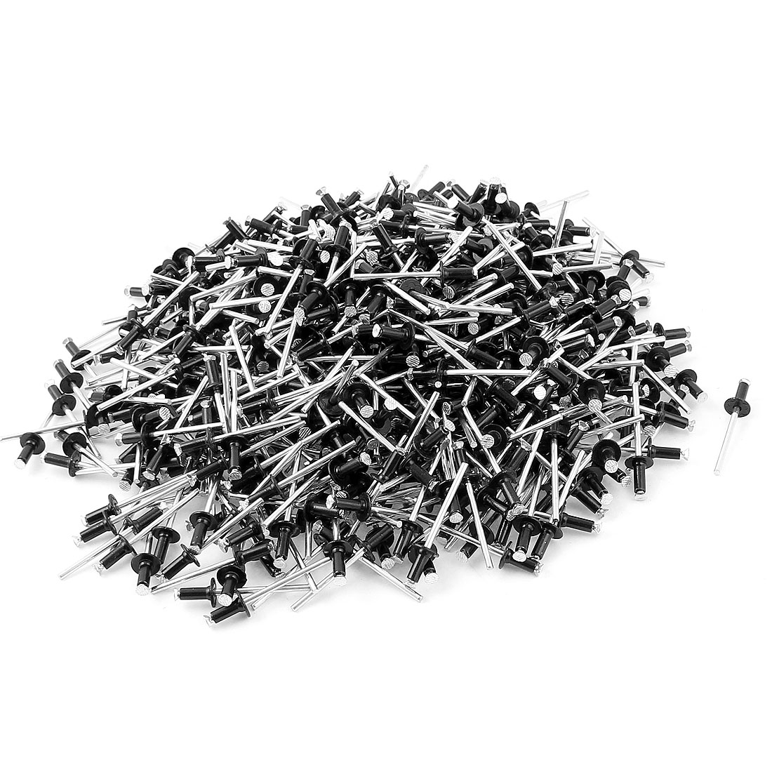 "1000 Pcs 5/32"" x 25/64"" Aluminum Alloy Open End Blind Pop Rivets Dome Head Black"