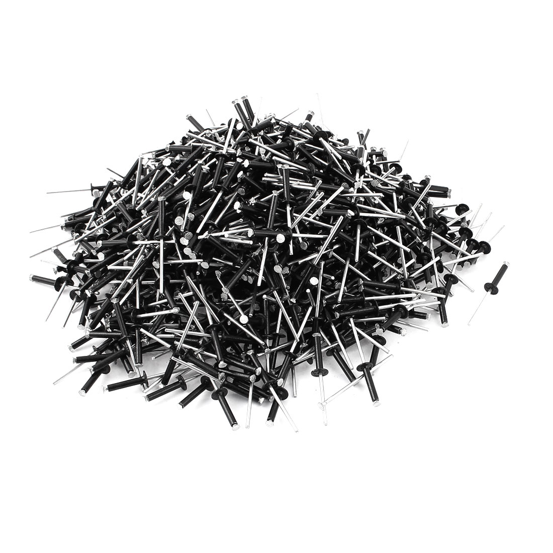 "1000 Pcs 1/8"" x 45/64"" Aluminum Alloy Open End Blind Pop Rivets Dome Head Black"