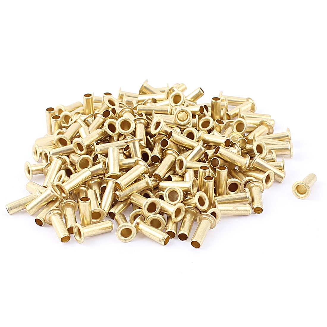 200 Pcs M4*12 copper Tone Eyelet Buttonhole rivet Retainer Ring Button Buckle