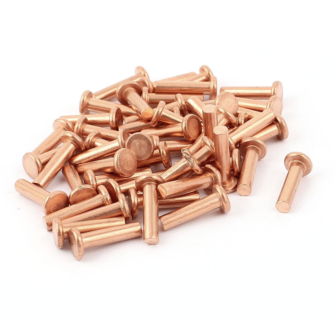 "50 Pcs 5/32"" Diameter 5/8"" Long Shank Flat Head Copper Solid Rivets Fasteners"