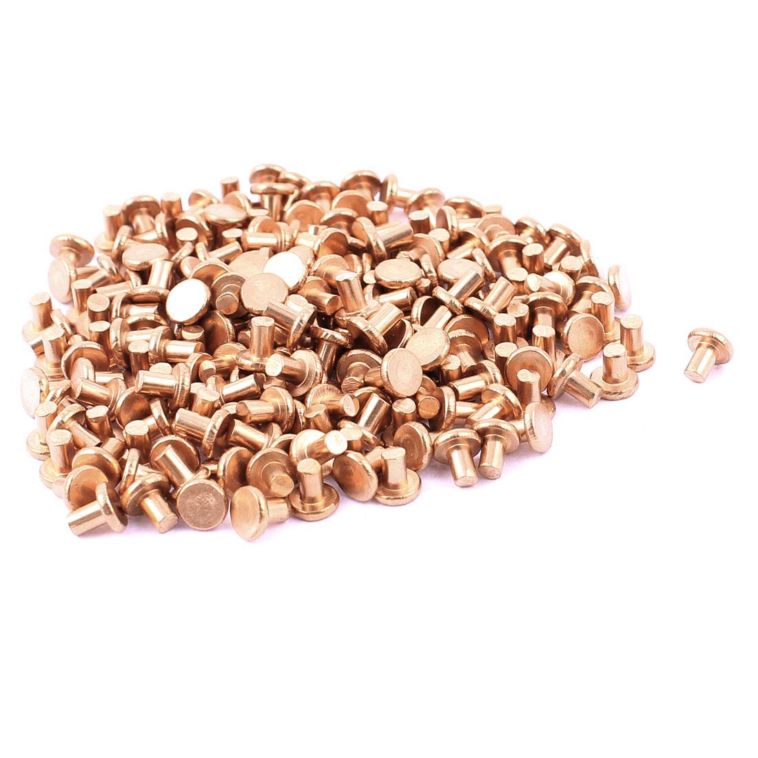 "200 Pcs 1/8"" Diameter 5/32"" Long Shank Flat Head Bolts Copper Solid Rivets Fasteners"