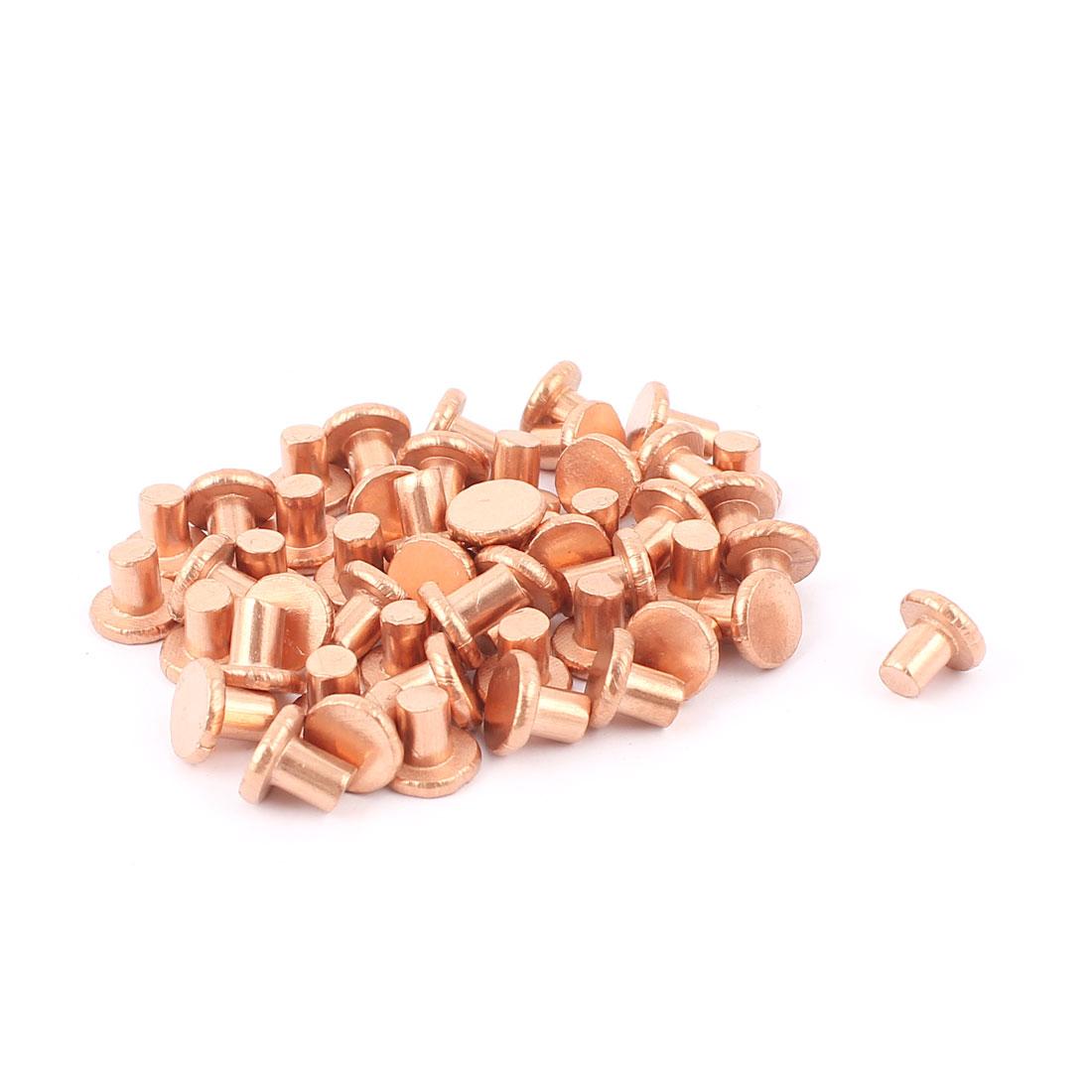 "50 Pcs 13/64"" Diameter 15/64"" Long Shank Flat Head Bolts Copper Solid Rivets Fasteners"