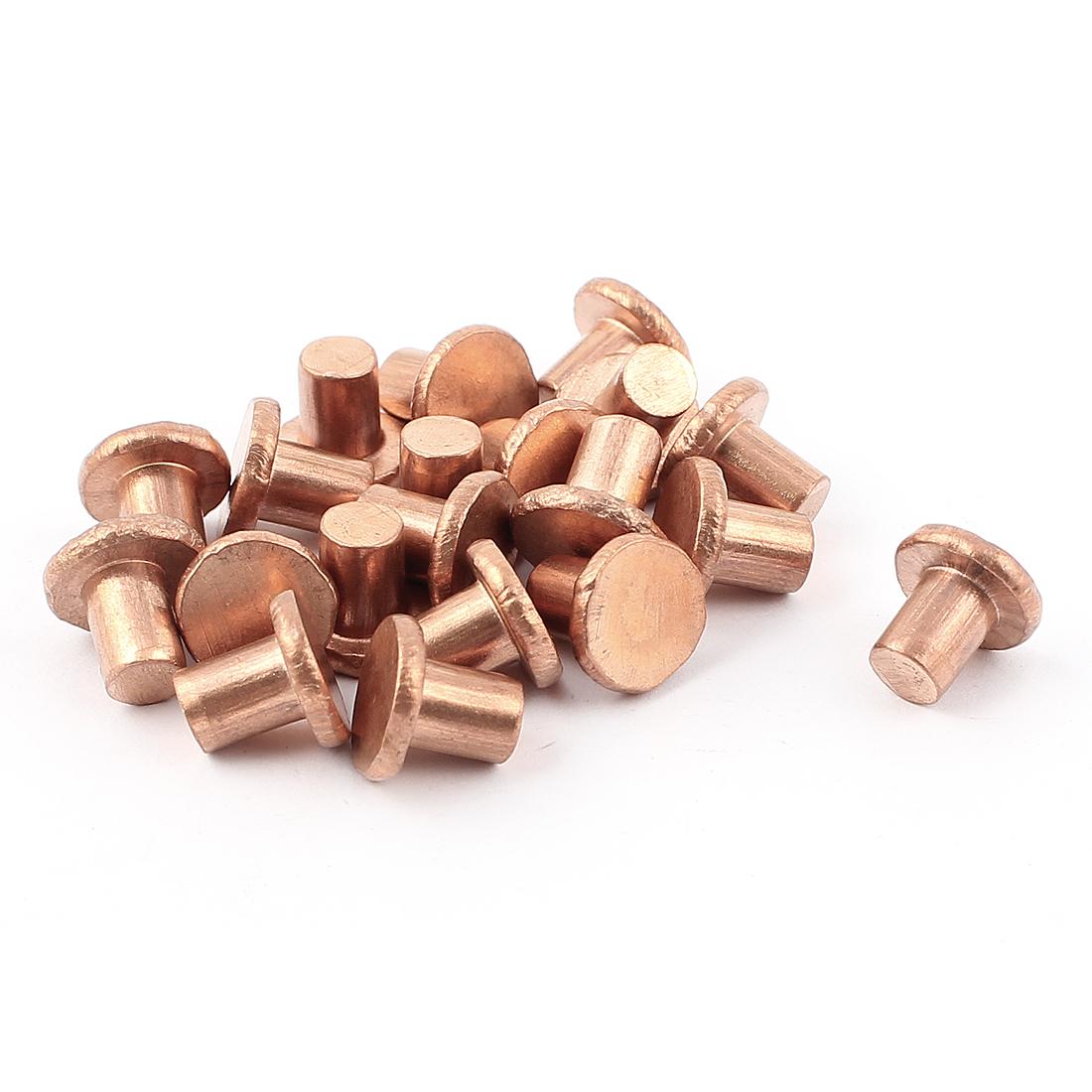"""20 Pcs 15/64"""" x 5/16"""" Flat Head Copper Solid Rivets Fasteners"""