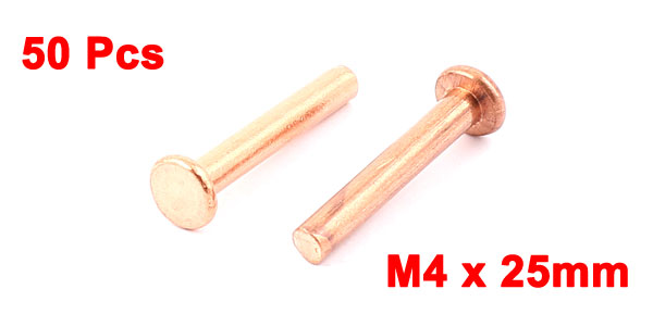 "50 Pcs 5/32"" x 1"" Flat Head Copper Solid Rivets Fasteners"