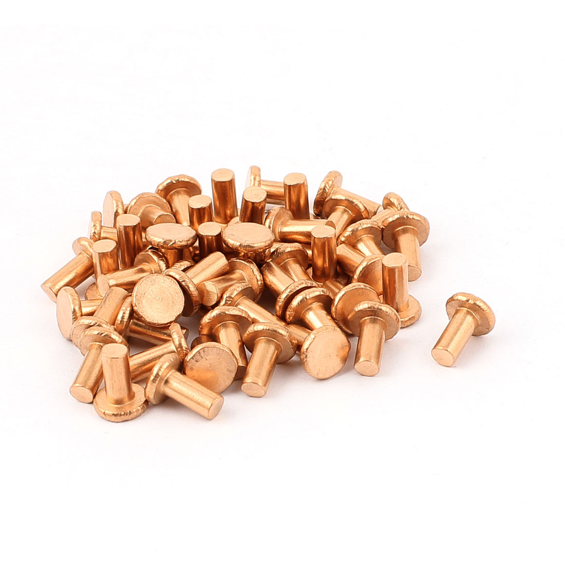 "50 Pcs 5/32"" Diameter 5/16"" Long Shank Flat Head Copper Solid Rivets Fasteners"