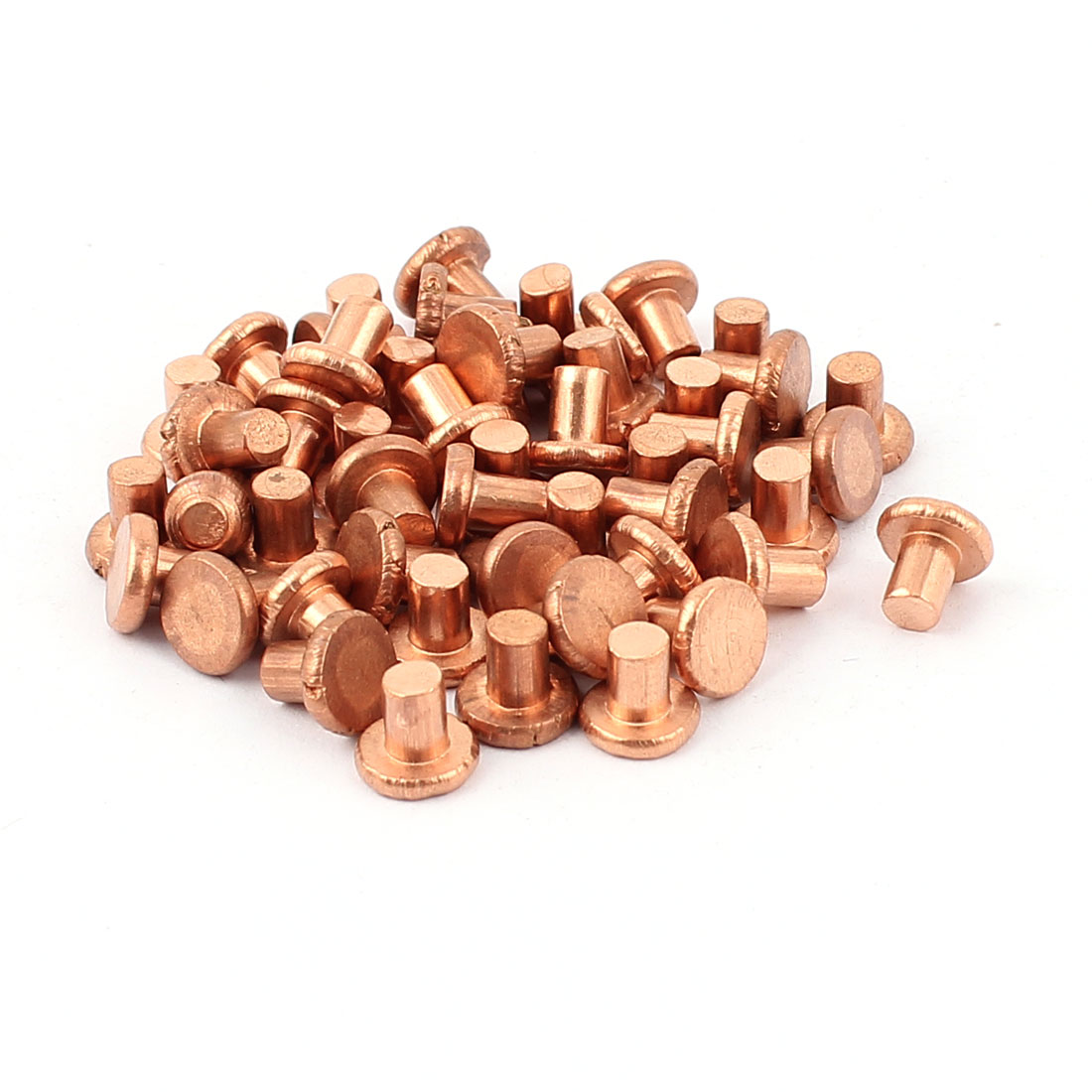 "50 Pcs 5/32"" Diameter 3/16"" Long Shank Flat Head Copper Solid Rivets Fasteners"
