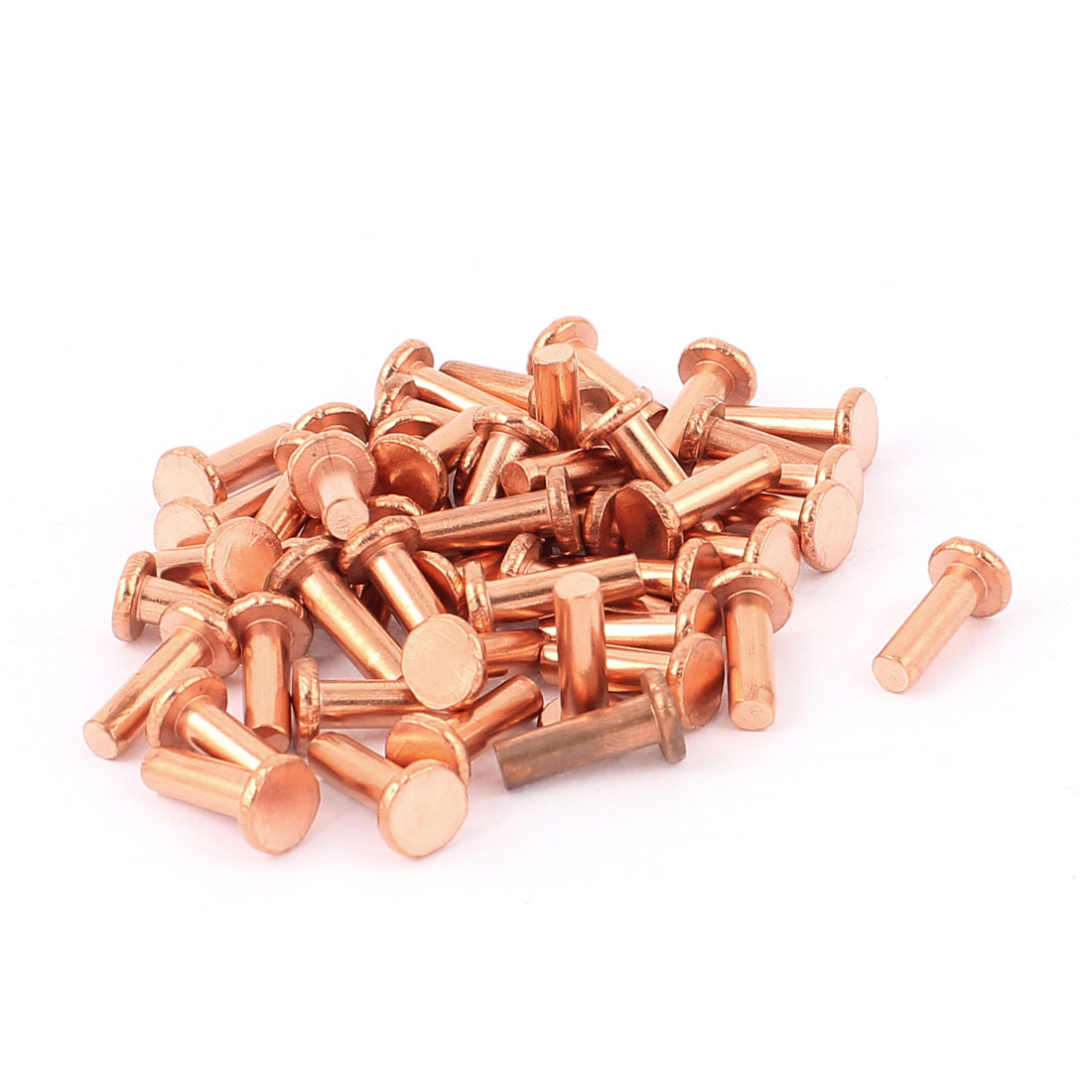 "50 Pcs 13/64"" Diameter 5/8"" Long Shank Flat Head Bolts Copper Solid Rivets Fasteners"