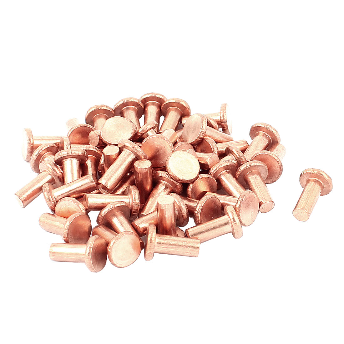 "50 Pcs 13/64"" Diameter 15/32"" Long Shank Flat Head Bolts Copper Solid Rivets Fasteners"