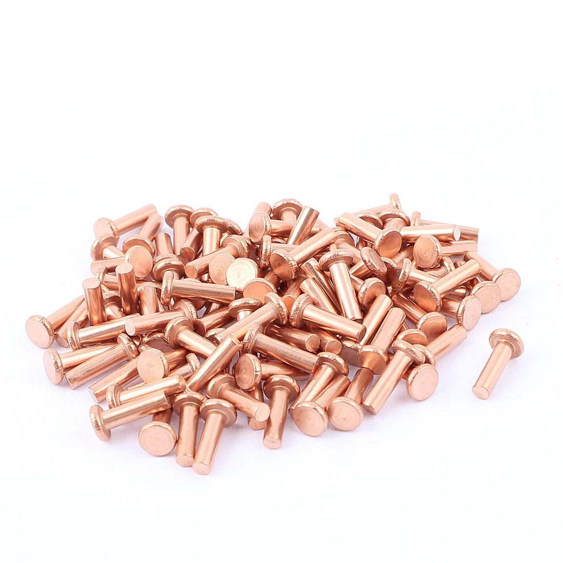 "100 Pcs 1/8"" Diameter 25/64"" Long Shank Flat Head Bolts Copper Solid Rivets Fasteners"