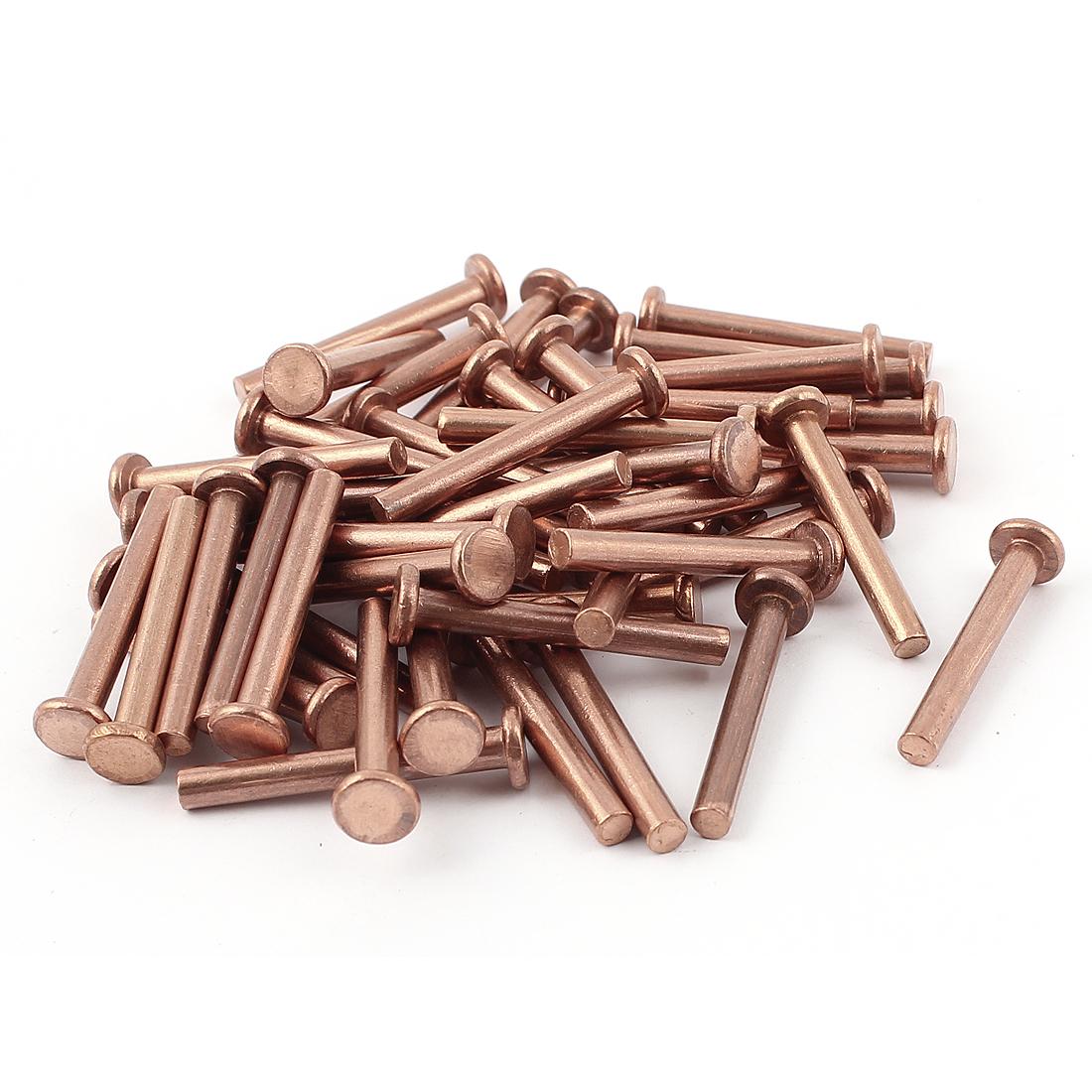 "50 Pcs 5/32"" Diameter 1 3/16"" Long Shank Flat Head Copper Solid Rivets Fasteners"