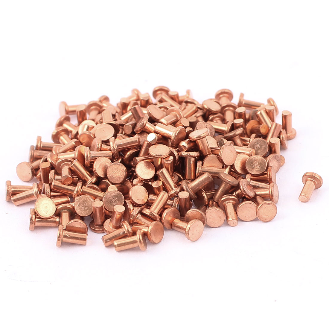 "200 Pcs 5/64"" Diameter 5/32"" Long Shank Flat Head Bolts Copper Solid Rivets Fasteners"
