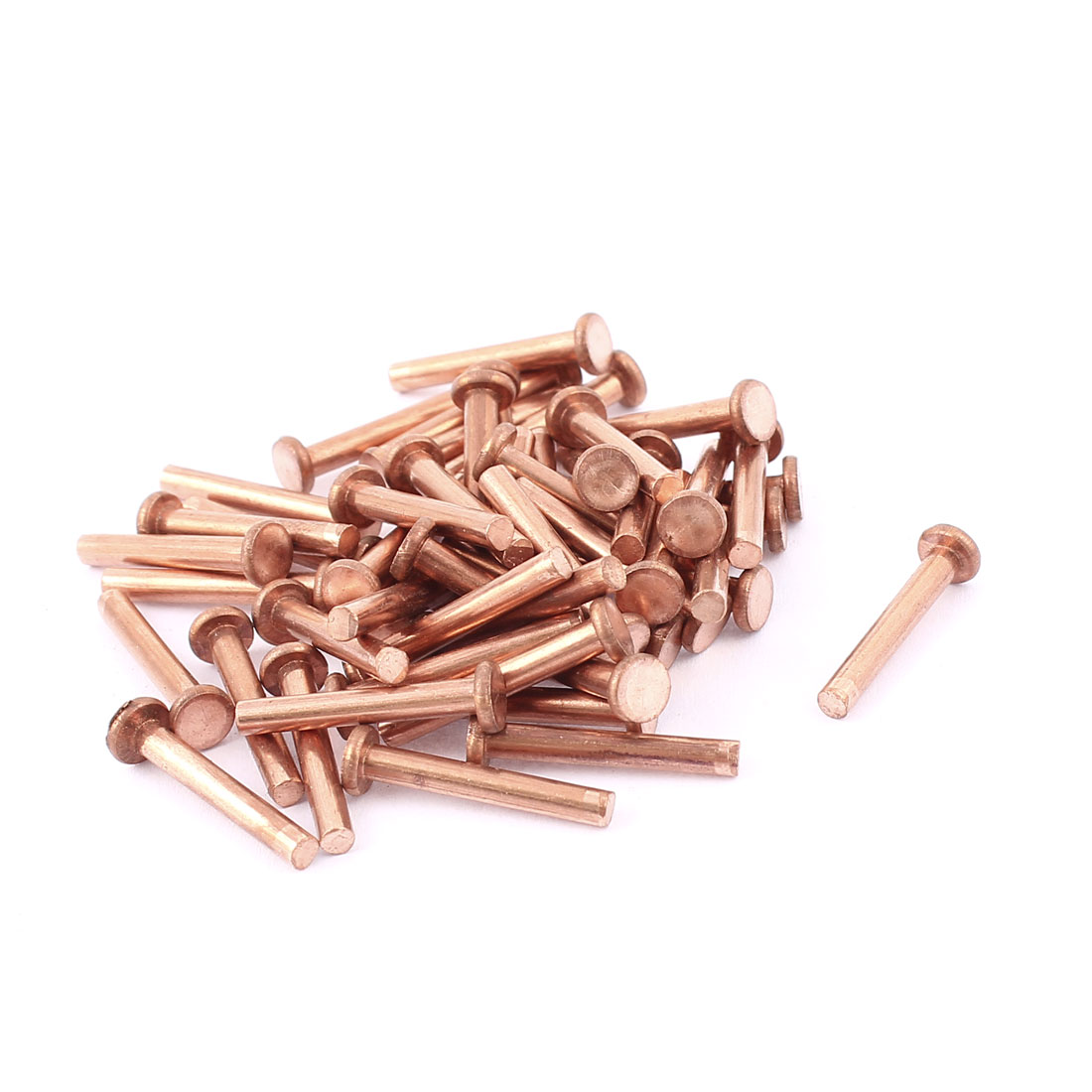 "50 Pcs 1/8"" Diameter 25/32"" Long Shank Flat Head Bolts Copper Solid Rivets Fasteners"