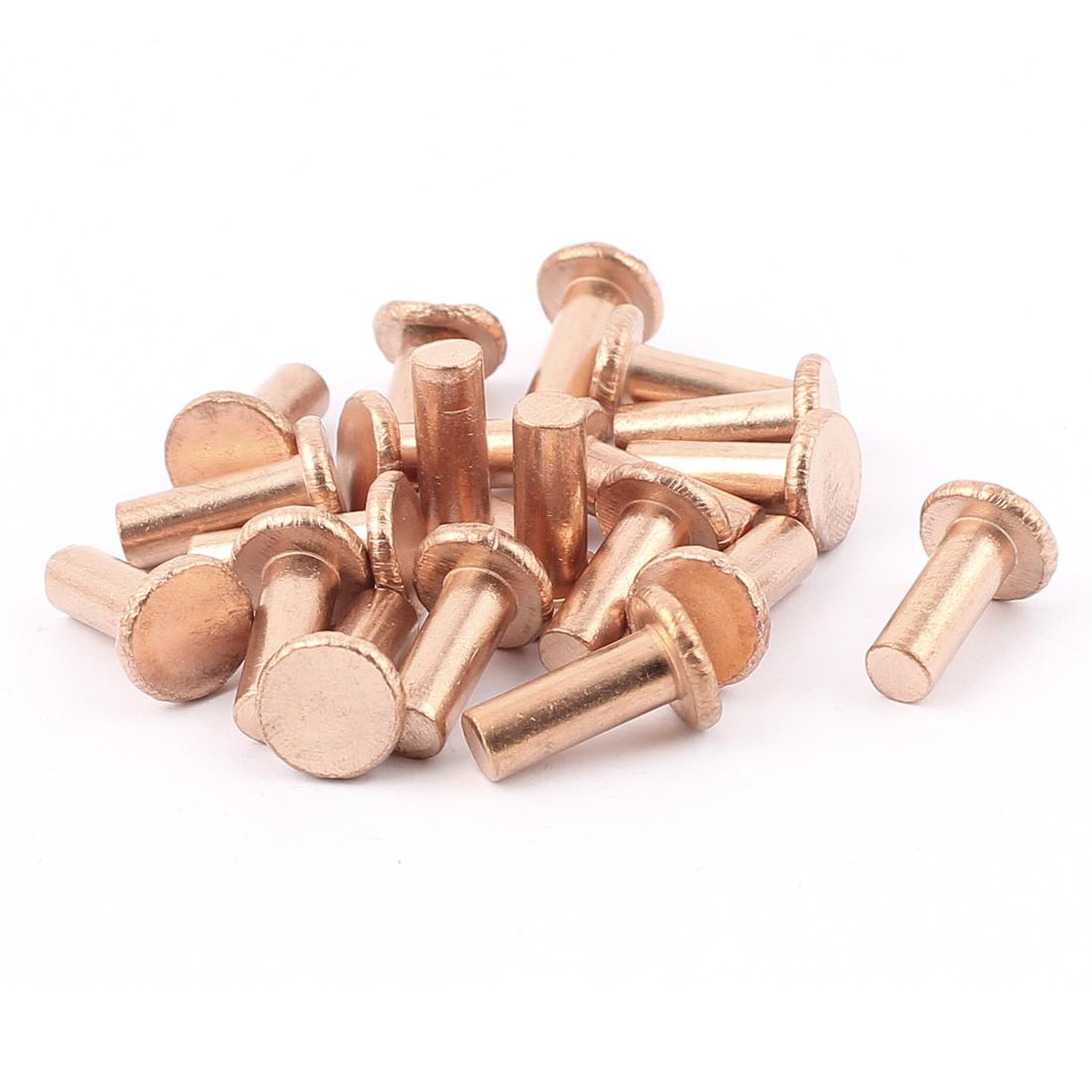 """20 Pcs 15/64"""" x 5/8"""" Flat Head Copper Solid Rivets Fasteners"""
