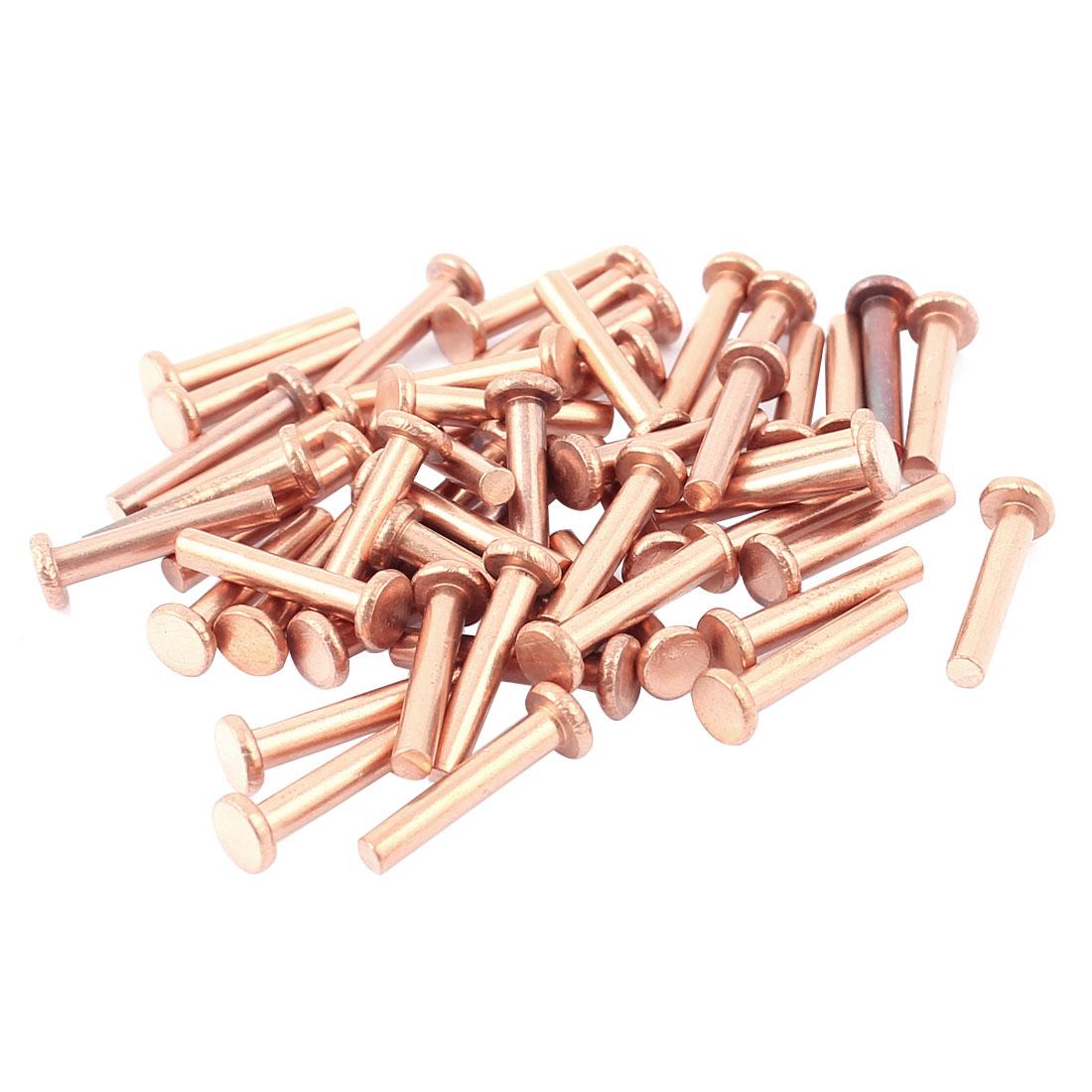 "50 Pcs 1/8"" Diameter 5/8"" Long Shank Flat Head Bolts Copper Solid Rivets Fasteners"