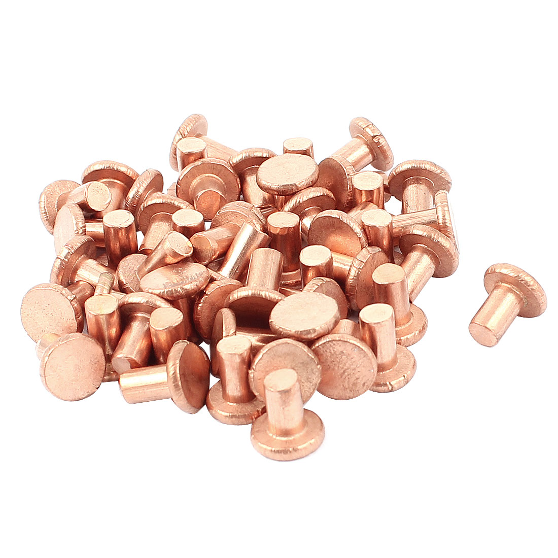 "50 Pcs 13/64"" Diameter 5/16"" Long Shank Flat Head Bolts Copper Solid Rivets Fasteners"
