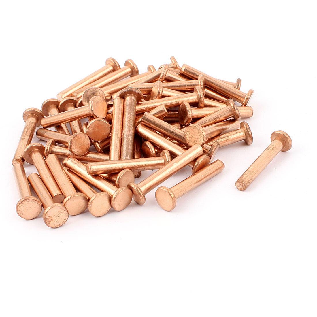 "50 Pcs 13/64"" Diameter 1 3/16"" Long Shank Flat Head Copper Solid Rivets Fasteners"