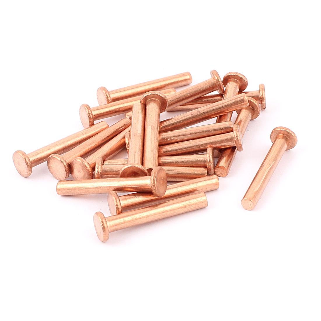 "20 Pcs 13/64"" Diameter 1 3/8"" Long Shank Flat Head Copper Solid Rivets Fasteners"