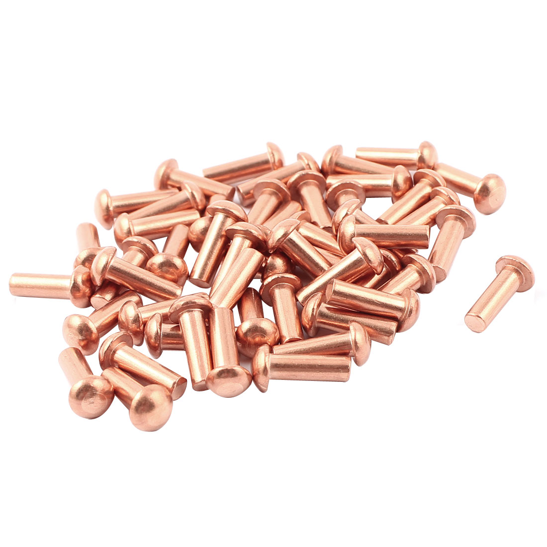"50 Pcs 5/32"" x 15/32"" Round Head Copper Solid Rivets Fasteners"