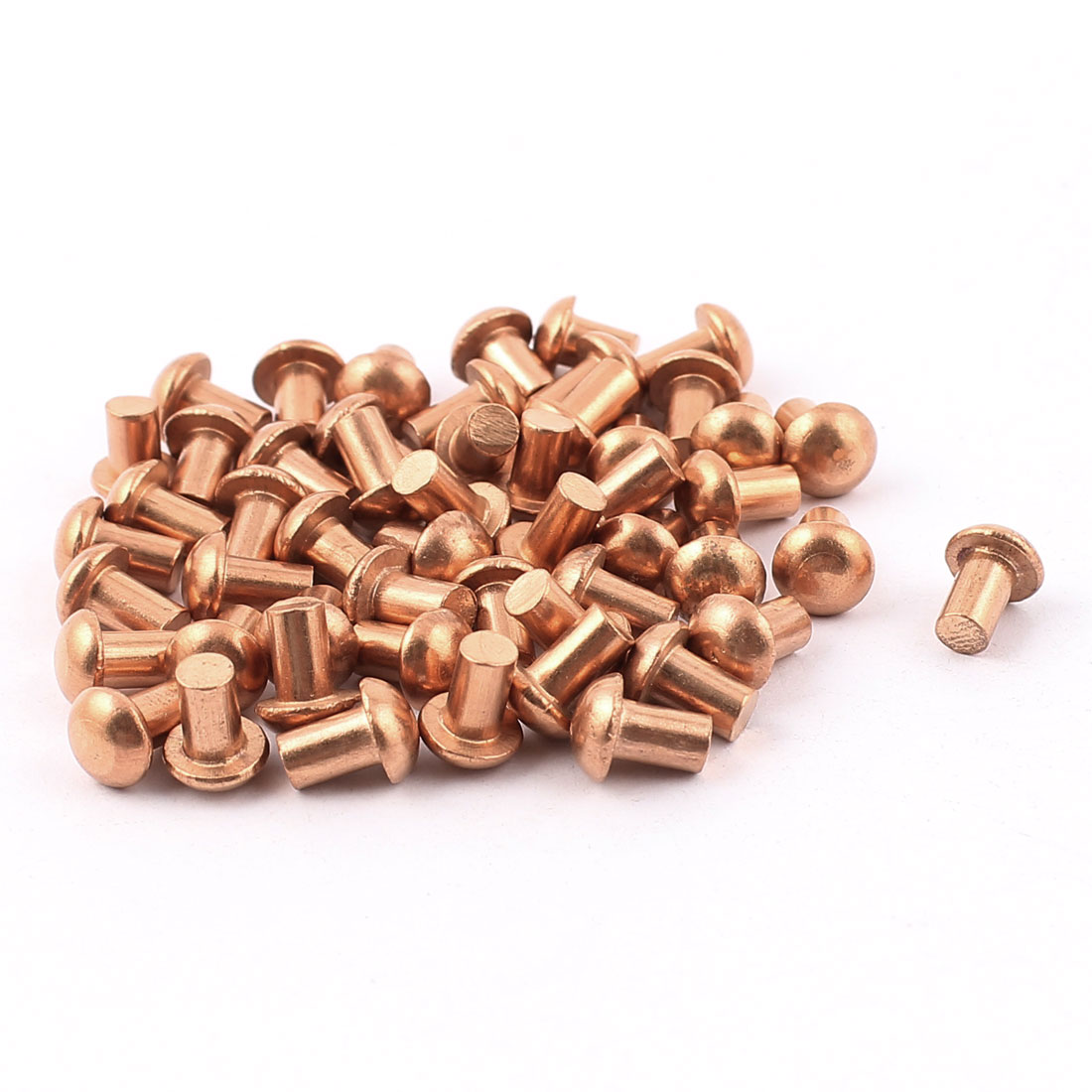 "50 Pcs 5/32"" x 1/4"" Round Head Copper Solid Rivets Fasteners"