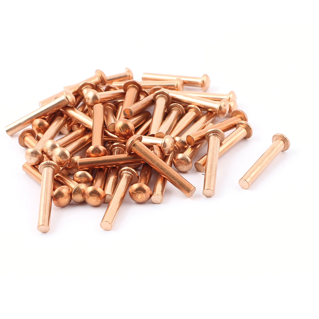 "50 Pcs 5/32"" x 1"" Round Head Copper Solid Rivets Fasteners"