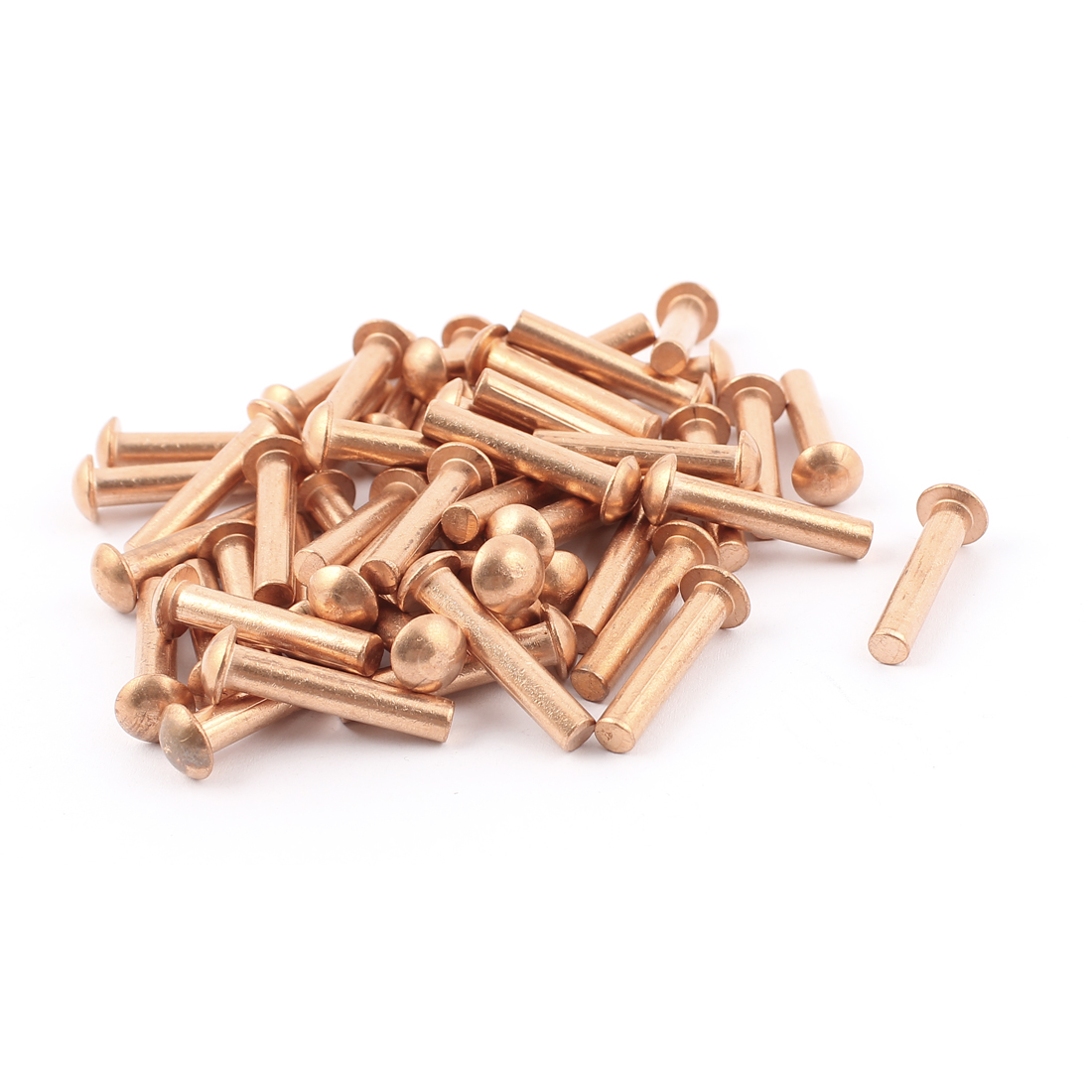"50 Pcs 3/16"" Diameter 1"" L Shank Round Head Copper Solid Rivets Fasteners"